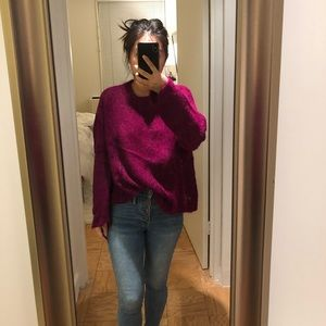 Free People Fuschia alpaca/wools blend sweater